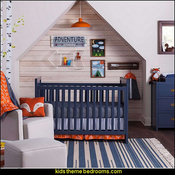Orange & Navy Arrow Nursery Room  Modern rustic decorating - Modern rustic decor - modern contemporary rustic style nature-inspired furniture - modern rustic baby bedrooms - wooden wall art - rustic modern baby nursery