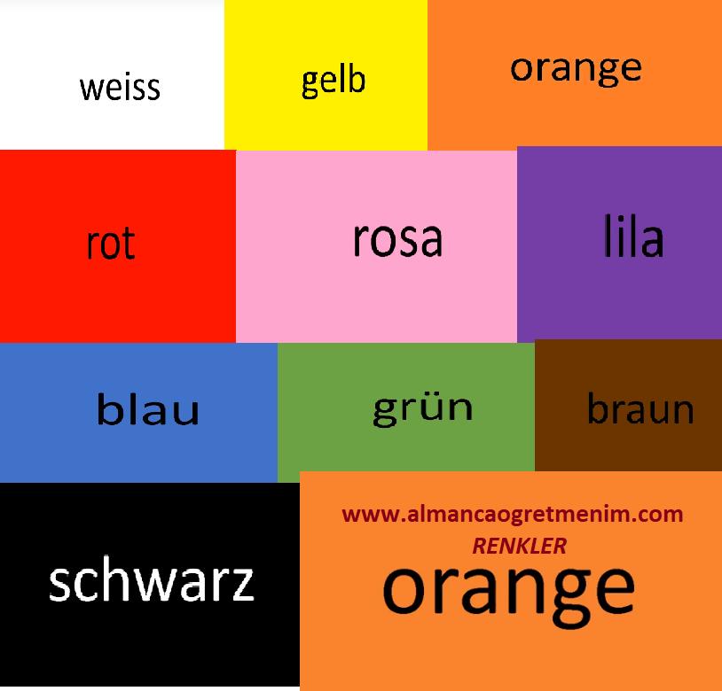 die FarbenAlmanca Renkler kırmızı,siyah,beyaz,yeşil,mavi,kahverengi