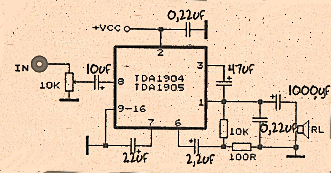 power amplifier circuit with ic tda1904 power amplifier rh ampcircuitdiagram xyz Guitar Tube Amplifier Schematics Amplifier Schematic Symbol