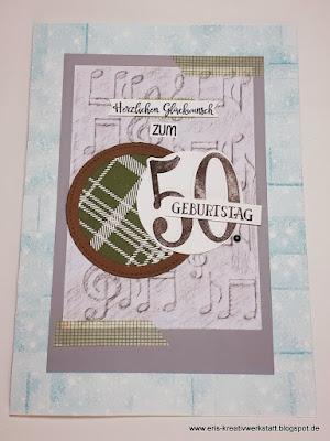 Große Geburtstagskarte zum 50. für einen Mann mit Noten- und Sternenhintergrund Stampin' Up! www.eris-kreativwerkstatt.blogspot.de