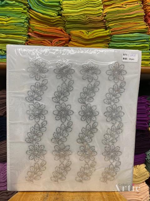 Pelekat hotfix sticker rhinestone DMC aplikasi tudung bawal fabrik pakaian motif bunga besar dedaun silver