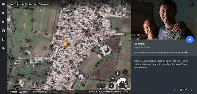 Google Earth Screenshot, der Saroo Brierleys Geschichte zeigt