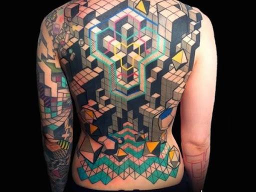 Grande estilo tetris bloco de construção de trás da tatuagem
