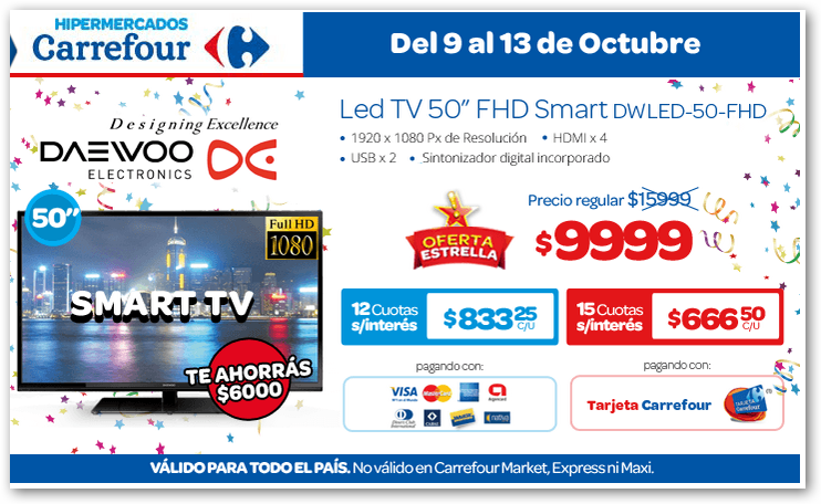 tecno promos argentina promo led tv daewo en carrefour. Black Bedroom Furniture Sets. Home Design Ideas