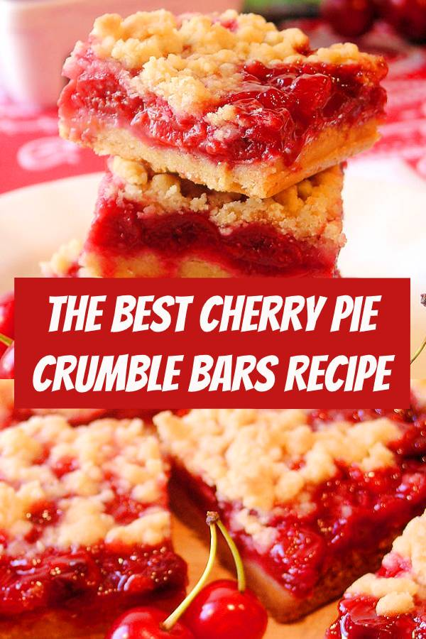 Our Cherry Pie Crumble Bars are made with a homemade cherry pie filling prepared with plenty of fresh picked Montmorency tart cherries. The crumble pastry has just the right salty-sweet and buttery richness you would expect in a tart cherry pie. Irresistible! #cherry #pie #cherrype #cherryrecipes #pastry