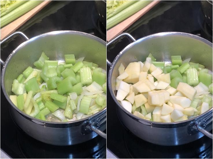 Crea de apio, manzana y hierbabuena