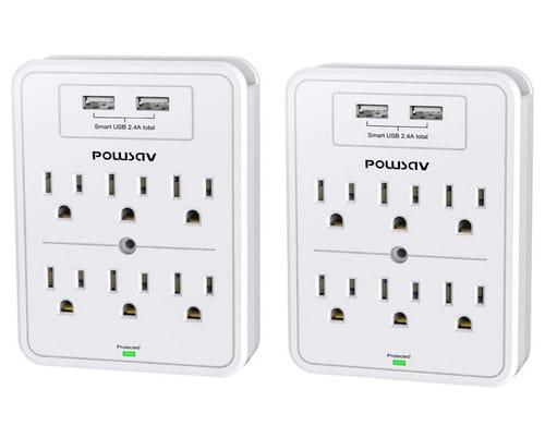 POWSAV Multi Plug Outlet Surge Protector