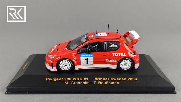 Zdjecie modelu IXO RAM106 Peugeot 206 WRC, Rally Sweden 2003, Winners Gronholm / Rautiainen