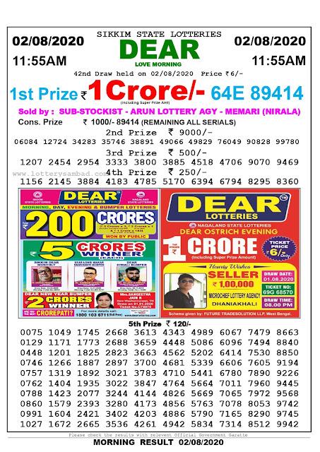 Lottery Sambad Result 02.08.2020 Dear Love Morning 11:55 am
