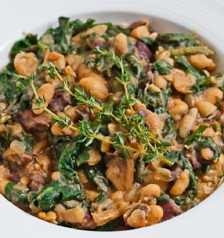 MASHED WHITE BEANS WITH SPINACH AND OLIVES RECIPE