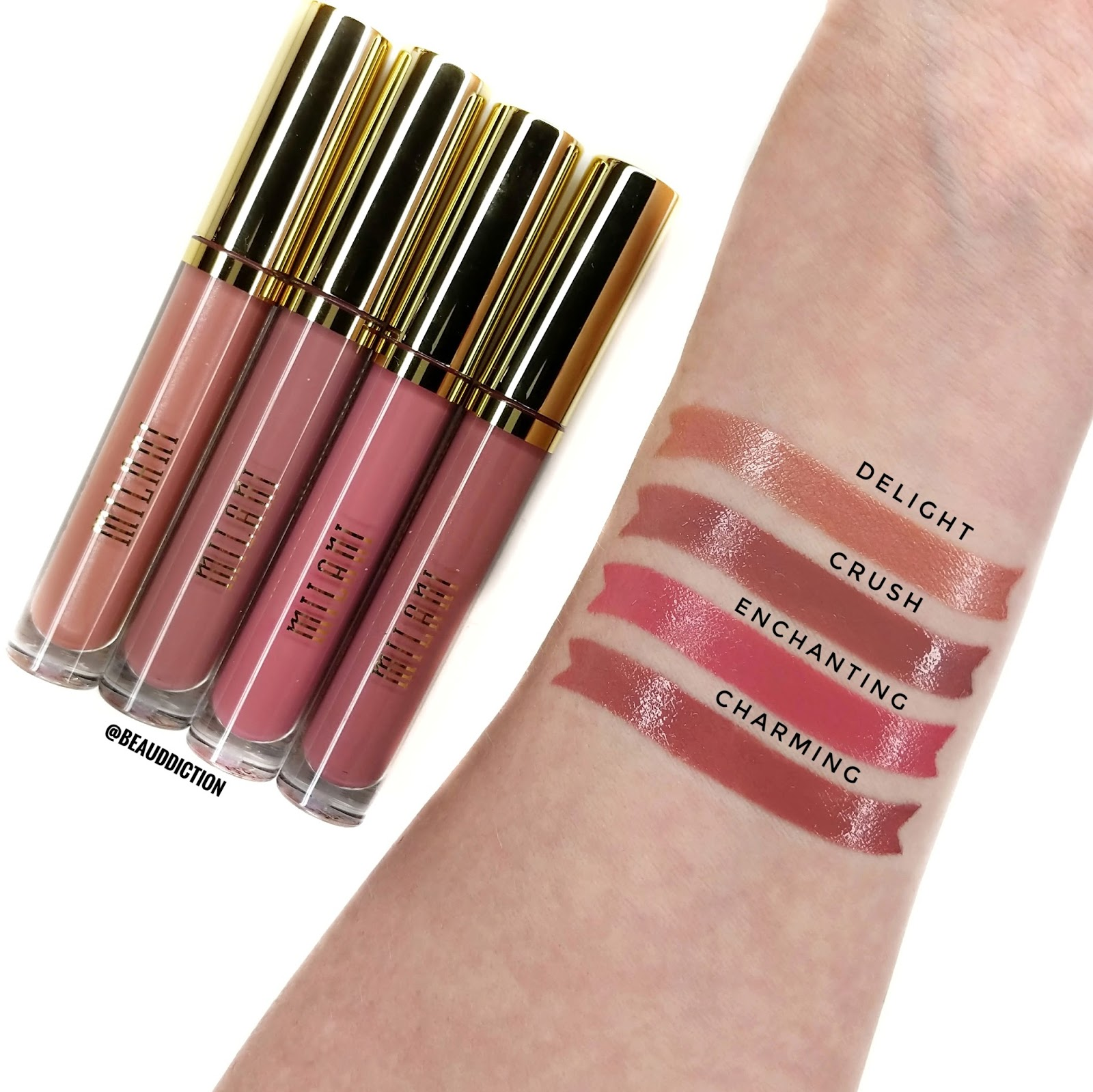 milani amore shine liquid lipstick swatches