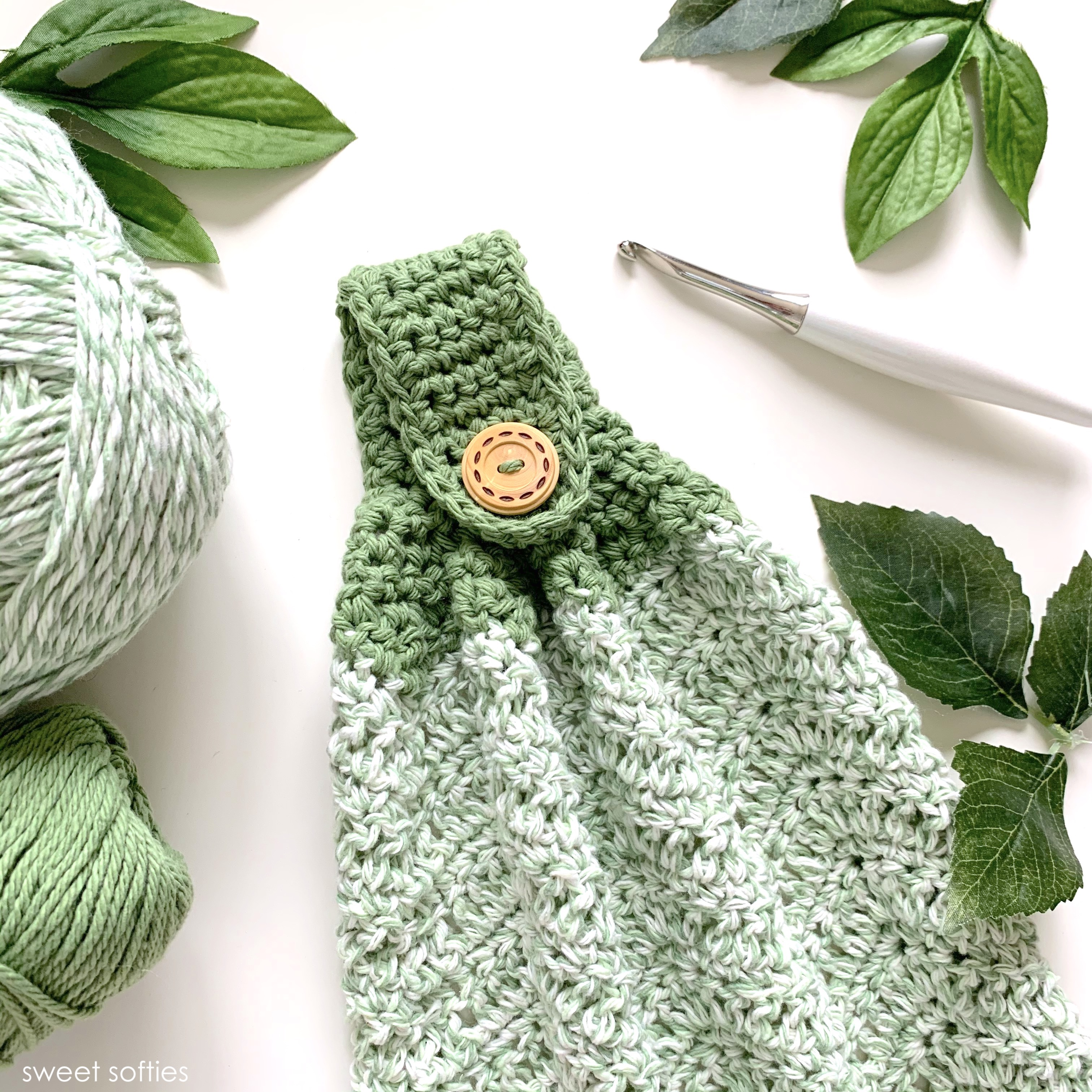 Fruit Hand Towel With Green Crocheted Top Brown