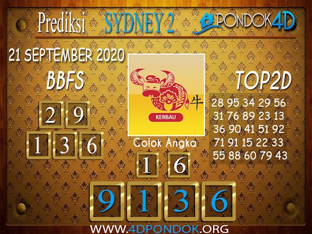 Prediksi Togel SYDNEY 2 PONDOK4D 21 SEPTEMBER 2020