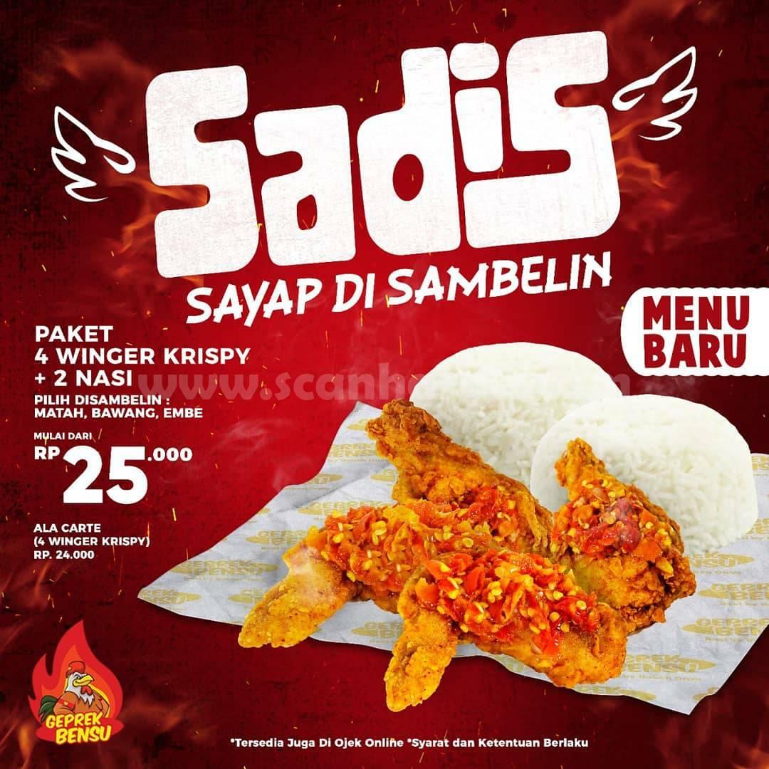 GEPREK BENSU Menu Baru SADIS Sayap Di Sambelin! Paket 4 Winger Krispy + 2 Nasi mulai dari Rp 25.000