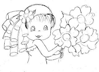 risco de boneca com flores silvestres para pintar