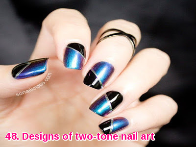 Designs of two-tone nail art