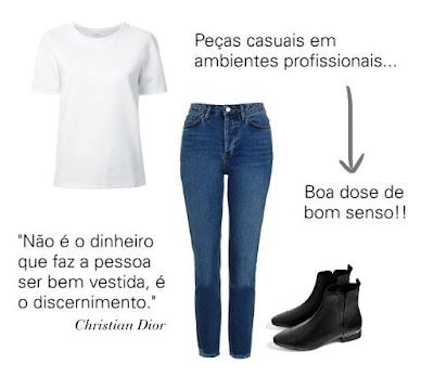 Consultoria de imagem - Como adaptar peças casuais a ambientes profissionais - T-shirt, jeans e botins