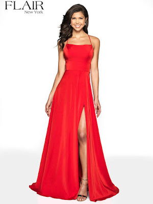 Crepe high Slit flair prom Dress red color