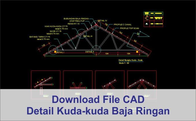 download Detail Kuda-Kuda Baja Ringan dwg AutoCad