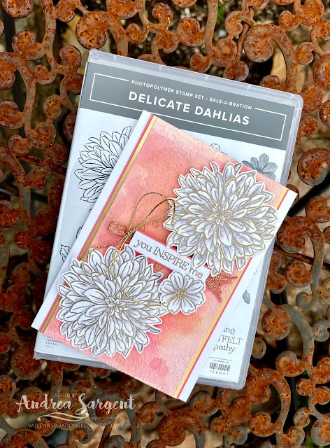 You inspire me with water-colouring, embossing and Stampin' Up!s Delicate Dahlias by Andrea Sargent in Australia