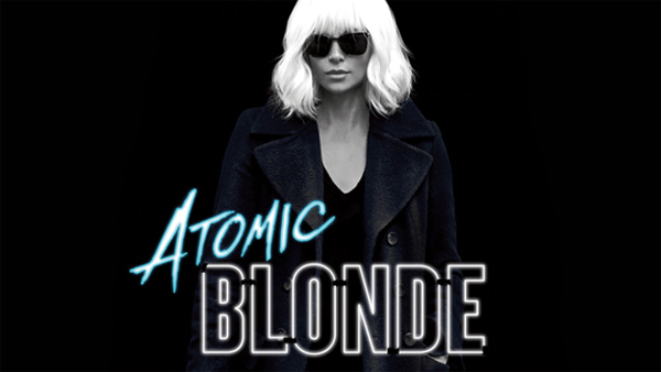 image of Charlize Theron in Atomic Blonde, accompanied by the film's logo