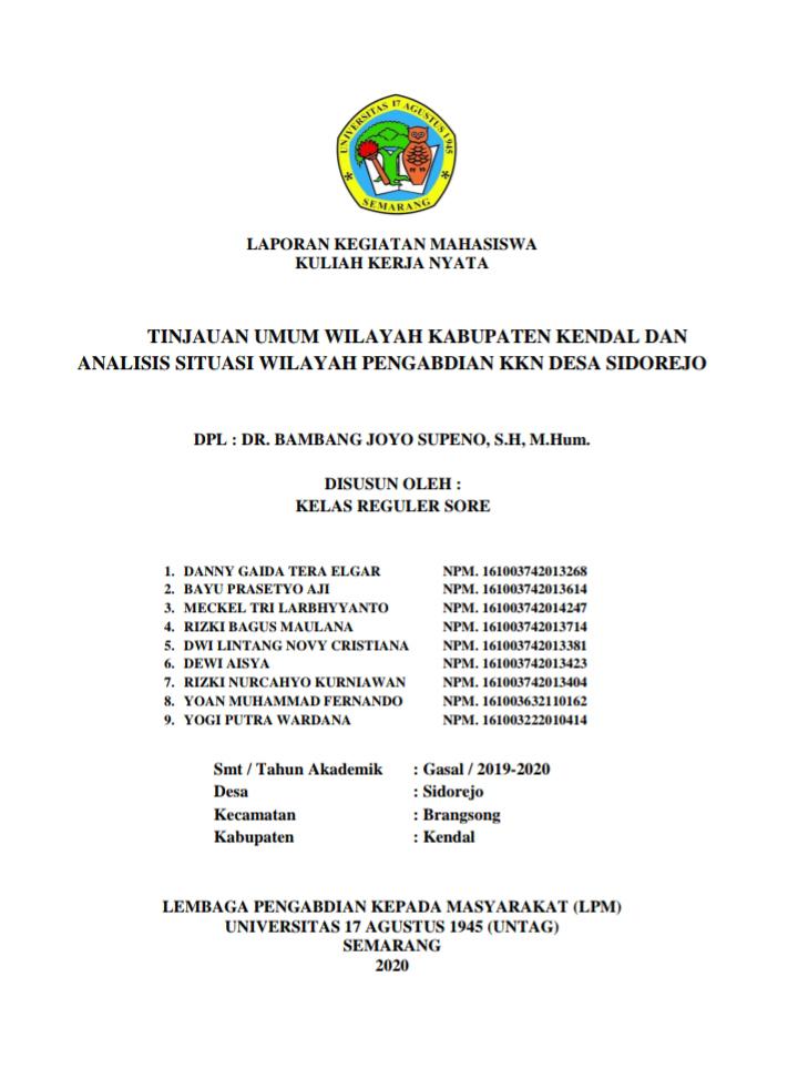 Laporan Kuliah Kerja Nyata KKN Universitas 17 Agustus 1945 UNTAG Semarang