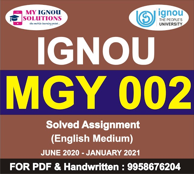 MGY 002 Solved Assignment 2020-21