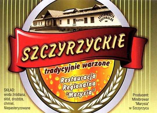 Piwo Szczyrzyckie - etykieta z butelki.