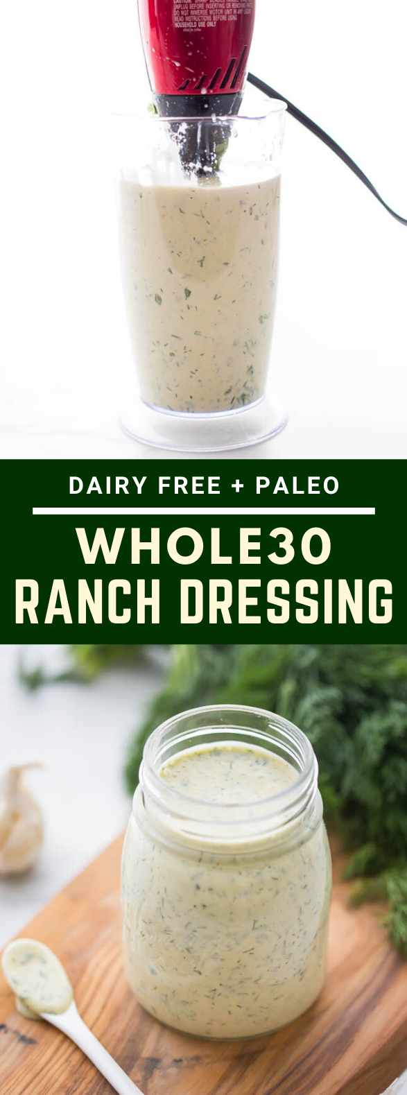"Whole30 Ranch Dressing (""Dump Ranch,"" Paleo, Dairy-Free) #healthy #diet"