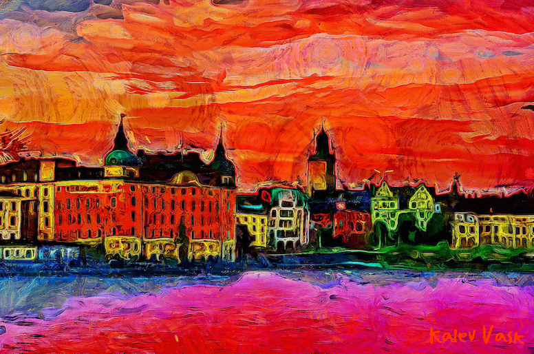A view of Gamla Stan and  Riddarholmen at sunset from Söder Mälarstrand, Stockholm, Sweden. Created with Dynamic Auto Painter from photo by Kalev Vask