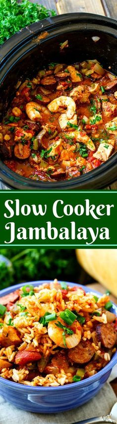 Slow Cooker Jambalaya, with chucks of chicken and andouille sausage and lots of shrimp, is a super flavorful one dish meal. Since Mardi Gras is just around the corner, my belly has been craving all those wonderful New Orleans foods.