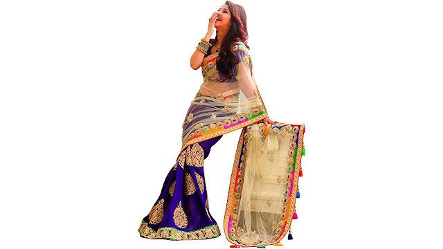 Bollywood Designer Solid Fashion Net Saree  (Blue, Beige)