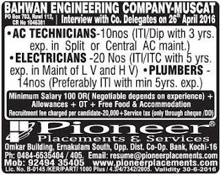Vacancies in bahwan engineering company Muscat