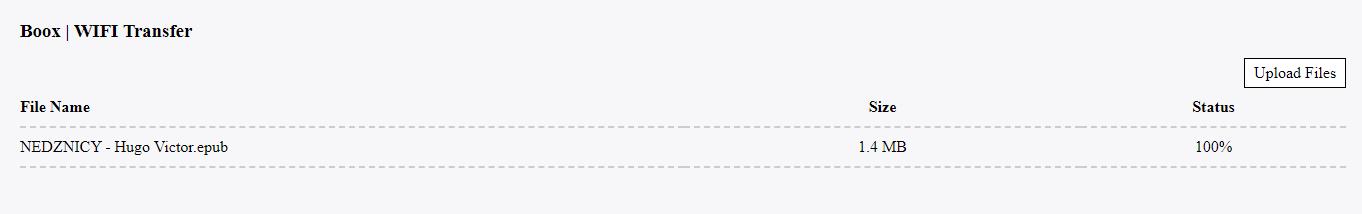 Zrzut ekranu z przeglądarki podczas przesyłania pliku na czytnik z wykorzystaniem aplikacji Wi-Fi Transfer