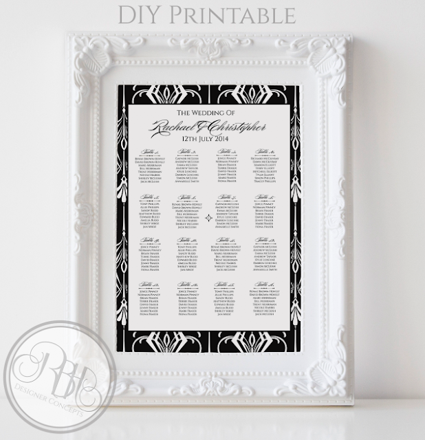 black white art deco wedding seating chart plan by rbhdesignerconcepts