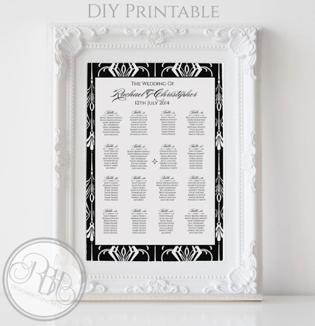 black white art deco wedding seating chart plan by rbhdesignerconcepts