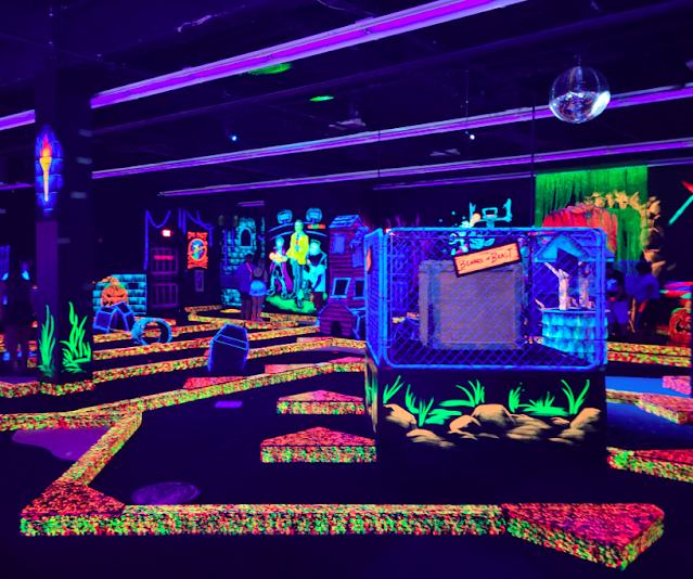 Monster Golf in Charlotte is great for families. They have mini golf, blazer room, mini bowling and an aracde.