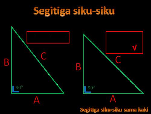 Teorema Phytagoras menghitung panjang sisi segitiga siku