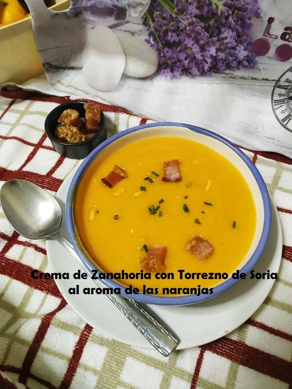 Crema de Zanahoria con Torrezno de Soria al aroma de las naranjas