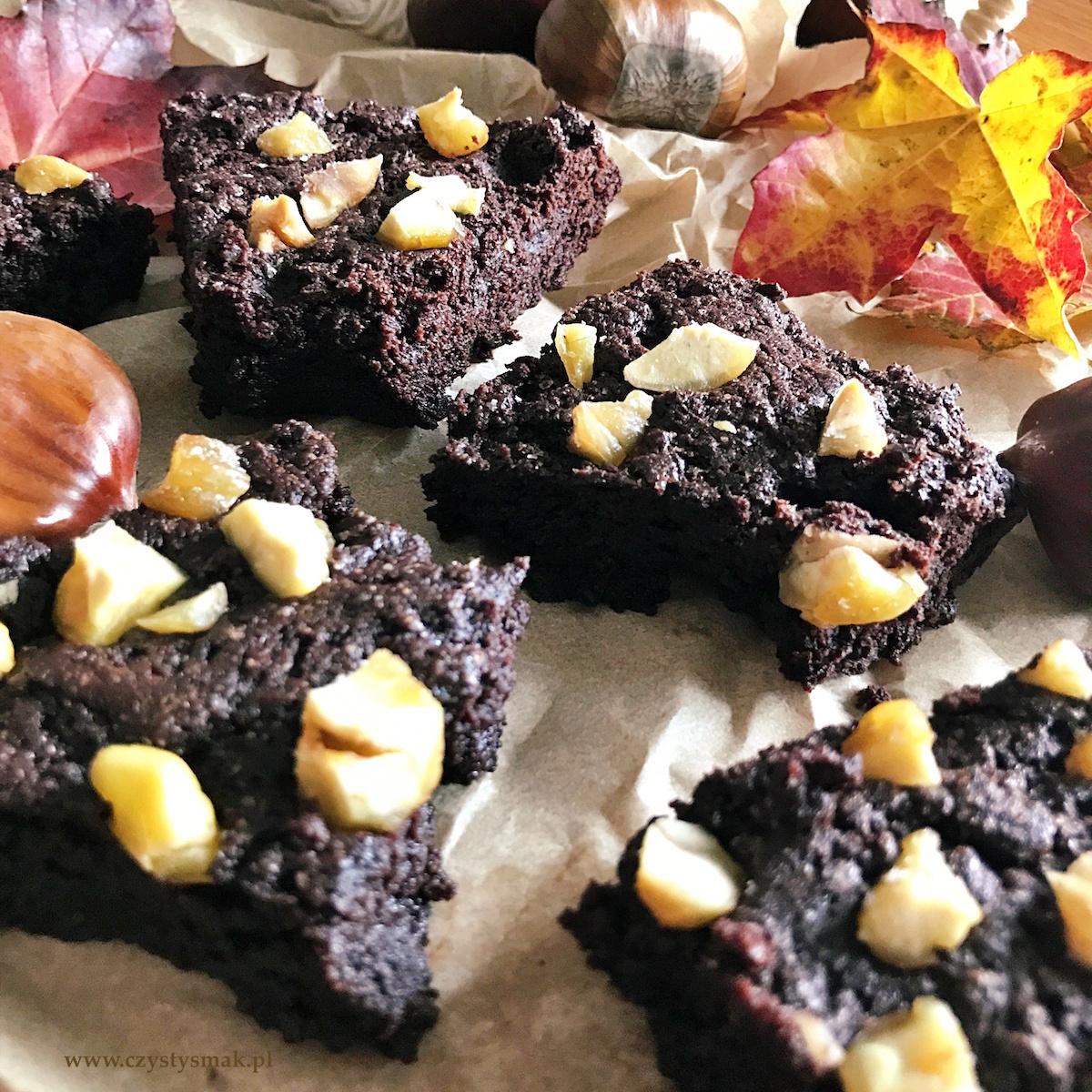 Brownie z solonymi kasztanami