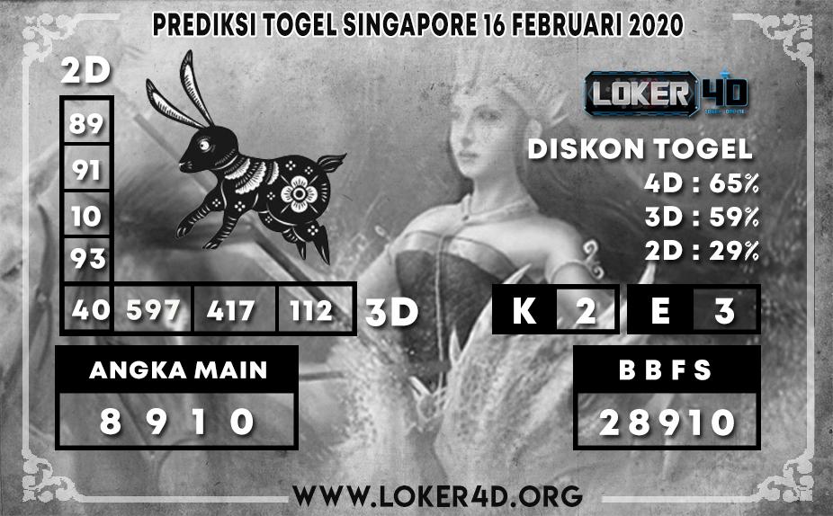 PREDIKSI TOGEL SINGAPORE LOKER4D 16 FEBRUARI 2020