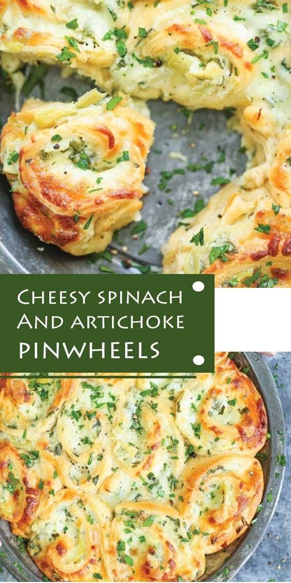 CHEESY SPINACH AND ARTICHOKE PINWHEELS #Baked #Spinach #Artichoke #Dip #GameDay