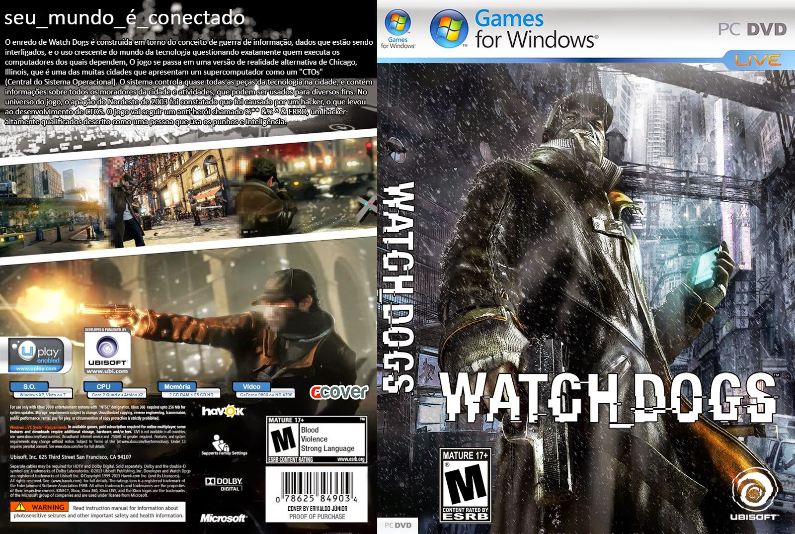 Watch Dogs PC DVD Capa