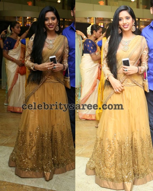 Golden Yellow Fancy Half Saree