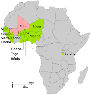 Map of Africa showing subsaharan Region