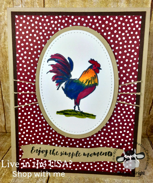 Card, Home To Roost, Rooster, Stampin Blends, Rustic