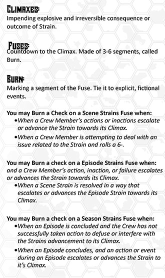 Climaxes, Fuses, and Burn details