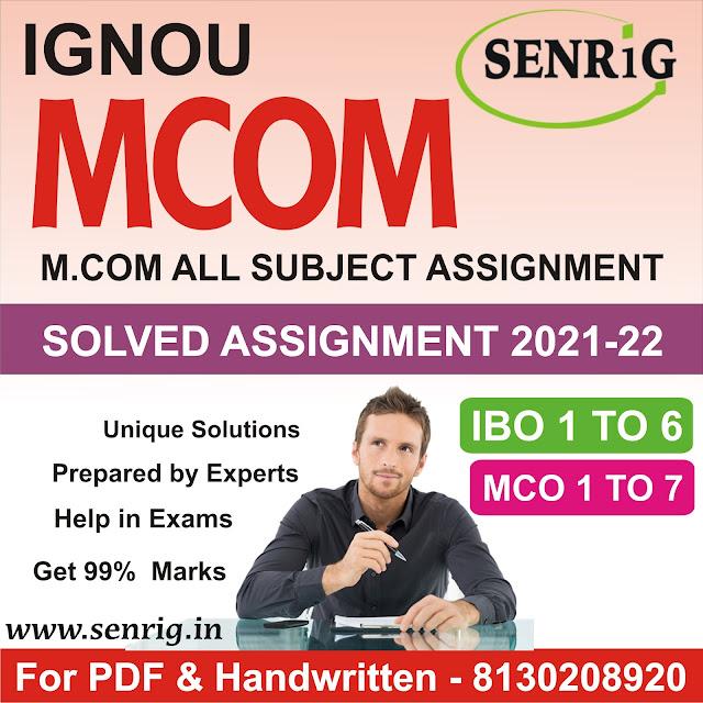 MCOM Handwritten Assignment 2021-22