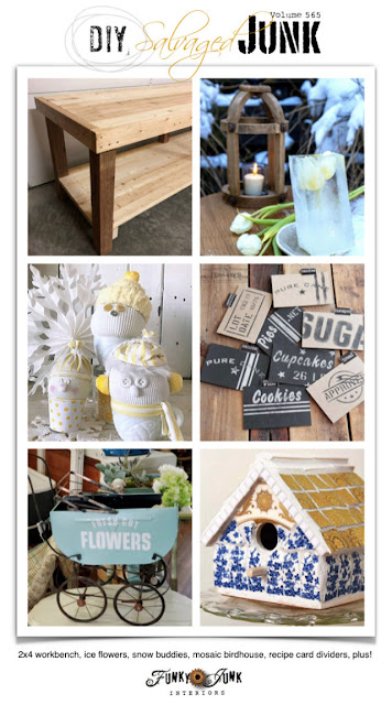 Funky Junk Interiors DIY Salvaged Junk Project link party Featured Project