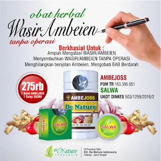 Obat wasir Ambejoss dan Salep Salwa produk unggulan dari De Nature Indonesia
